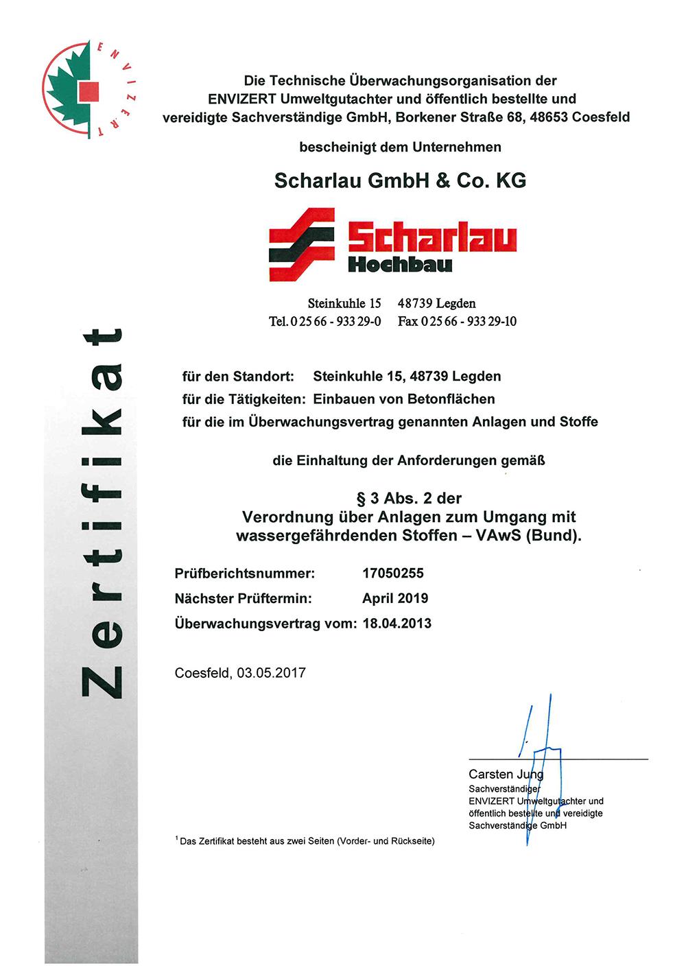 Envizert Zertifikat Seite 1